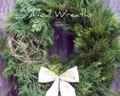 "Vintage Mod Wreaths - Attracts Fairies to Your Door. The ""Snowdrop"" Fairy Wreath - 24"" Maine Balsam Twig For Christmas or Any Occassion. - ModWreaths"