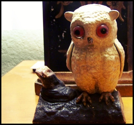 SOLD Reserved for Tamara Vintage Cast Iron Owl Money Bank