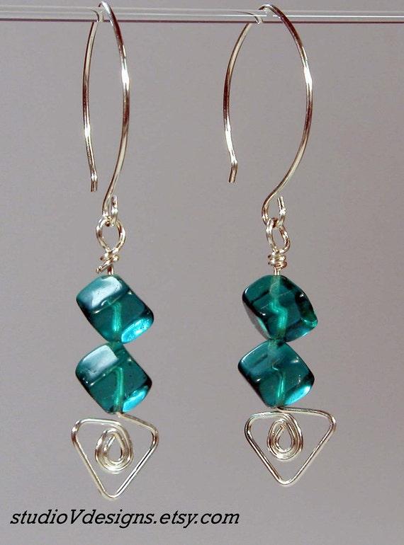 Silver & Teal Glass Cubes Dangle Earrings - V735, 123team