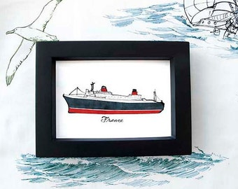 custom prints of ships framed in thrift store finds: ship print / nautical illustration