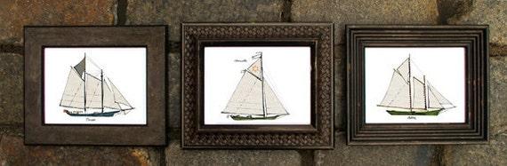 custom framed prints of schooners illustrations: ship prints, nautical illustrations