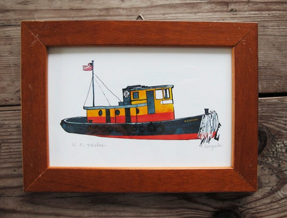 W.O. Decker historic wooden tugboat: ship print / nautical illustration