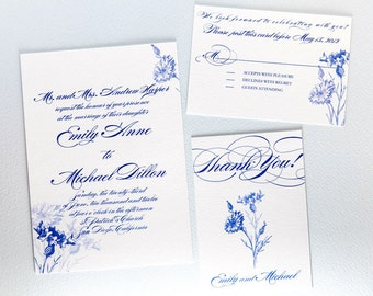 Botanical Wedding Invitation - Cornflower Invitation