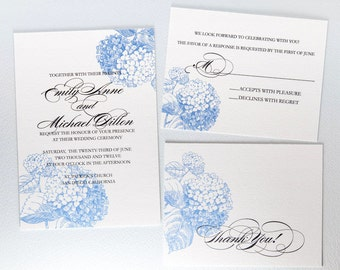 Blue Hydrangea Wedding Invitation Suite 3