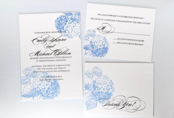 Blue Hydrangea Wedding Invitation Suite 3