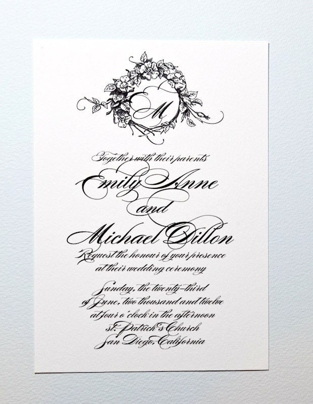 Printable Monogram Wedding Invitation Monogram By Encrestudio
