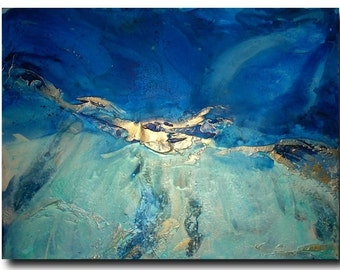 """Original 48"""" Huge Seascape Art by Caroline Ashwood - Textured and contemporary abstract painting on canvas - Ready to hang"""