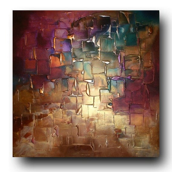 Original Abstract gift Art by Caroline Ashwood - Textured Gold and Purple contemporary abstract painting on canvas - FREE SHIPPING