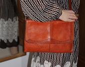 1970s Vintage Tan Leather Boho Handbag with Leather Shoulder Strap