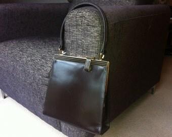 Vintage 1960s Chocolate Brown Leather Handbag Bag by Jane Shilton