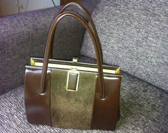 Vintage 1950s Chocolate Brown Leather and Suede Kelly Style Handbag Bag from Chamelle by Essell