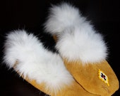 Deer Leather Tanned Hide Moccasins with Beading and Fur Trim