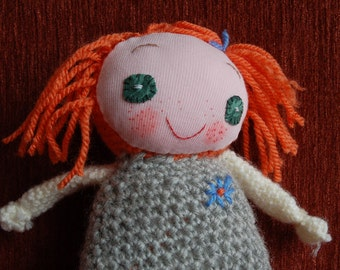 Handmade rag doll with personality, happy little doll, gift for girls, baby shower gift