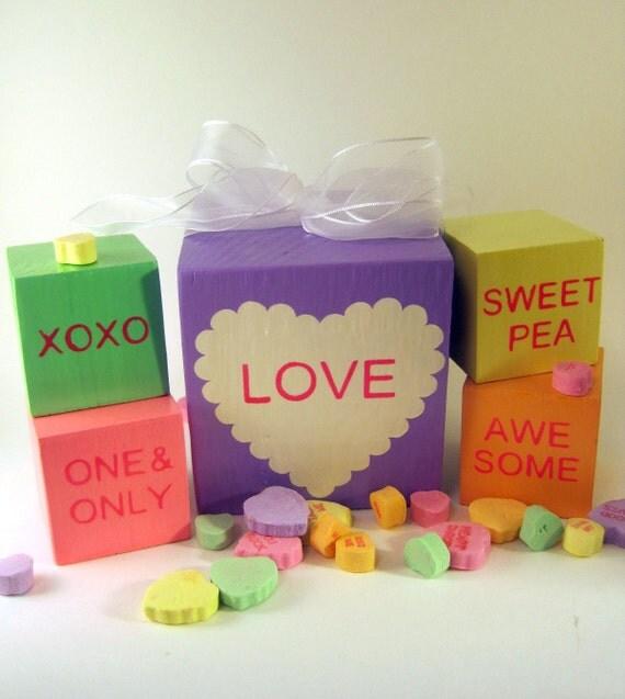 Valentine conversation heart style wood blocks for decoration