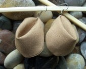 """BEAUTIFUL TEXTILE EARRINGS: """"Fortune Drop"""" - Taupe"""