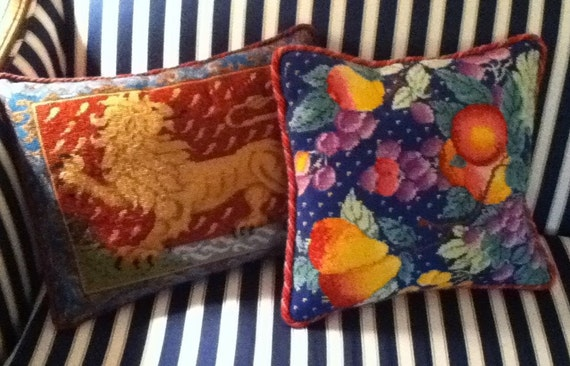 Needlepoint Finishing Services: pillows, Christmas stockings and ornaments. Click for sizes and prices
