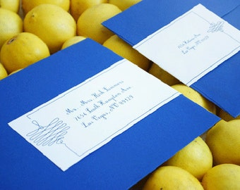 Personalized Baby Shower Mailing Labels - (Gorda) - Baby Shower, Wedding, Blue, 2 for 1, Easy, Cute, Simple, Modern. Envelope Stickers