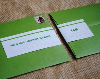 Personalized Wraparound Mailing Address Labels - Clean Green - Wedding Labels, Baby Shower Labels, Modern, Cute, Fun, Happy, Bold