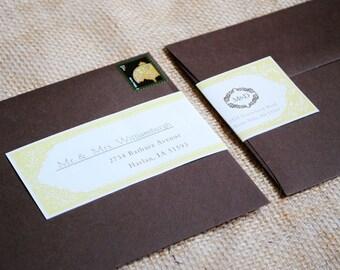 Cute WrapAround Mailing Labels - Vitctoria - Old Fashion, Edwardian, Fancy, Cute, Wedding, Formal, Mustard Yellow, Chocolate, Front to Back