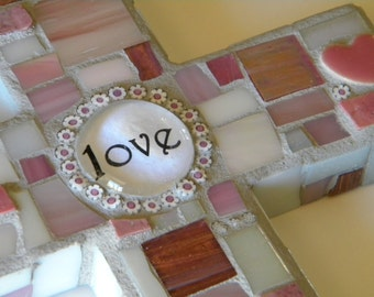 Pink and White Love Mosaic Cross
