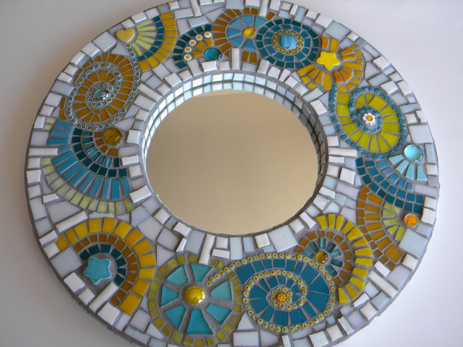 Turquoise yellow mosaic mirror abstract mirror home decor for Mosaic mirror