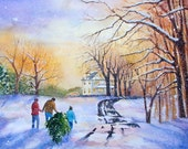 Fresh Cut Christmas Tree  Charming watercolor 11x15 on 140 lb Arches paper