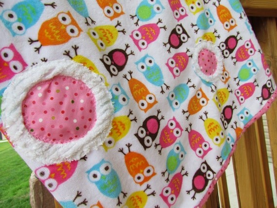 Closing Sale 50% off  Baby Girl Pink Owl Minky Blanket
