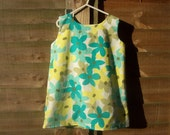 Girls turquoise yellow floral pinafore dress