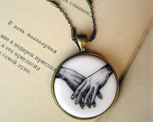 "Necklace ""Hands"" black&white, miniature drawing by hand, copper/brass accessories"