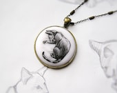 "Necklace ""Cat Washing Paw"" (Oriental cat),  black&white, miniature drawing by hand, copper/brass, for cat lover, for pet lovers"
