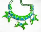 Necklace Carousel Green Horses. circus necklace, funny bright jewelry