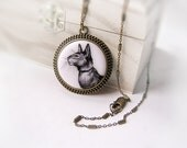 Necklace Cat Portrait (Oriental Siamese cat),  black&white, miniature drawing by hand, copper/brass, gift for pet lover