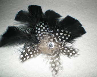 BLACK and WHITE POLKA Dot Feather Hair Clip Barrette