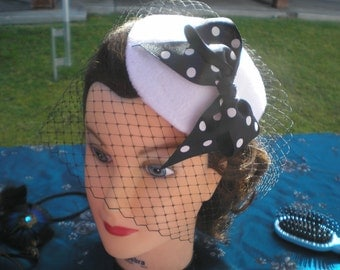 WHITE or Black HAT with Color Choice POLKA Dot Bow and Vintage Veil