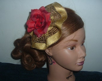 RED ROSE with GOLD Ribbon Hair Clip Hat  Fascinator