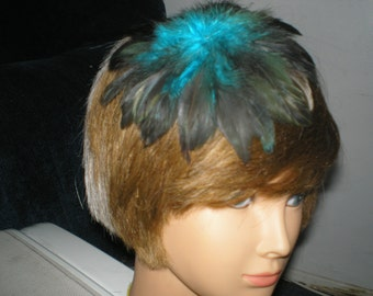 TURQUOISE COQUE FEATHERS Hair Clip Fascinator