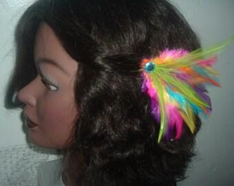 MARDI GRAS Colored Feather HAIR Clip Barrette