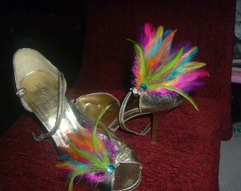 MARDI GRAS Colored Feather SHOE Clips