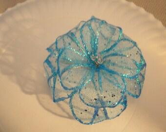 CHOOSE your COLOR TULLE Wedding Flower rose Hair Clip Barrette