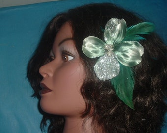 PINK, TEAL, CHAMPAGNE or Ivory Flowers with Feathers Hair Clips Barrette
