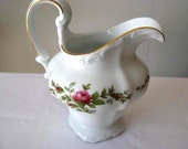 Vintage Creamer - Signed Haviland Traditions - Moss Roses and Gold trimmed