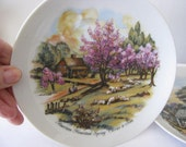2 Currier & Ives Plates - Spring and Autumn - Vintage Plates