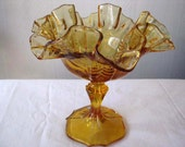 Fenton Glass - Vintage Amber Dish on Pedestal - Candy or Nut Dish