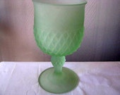 Vintage Green Goblet - Vintage Goblet - Lime Green Glass - Diamond Cut Glass