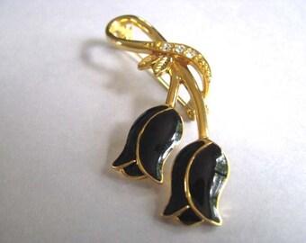 Vintage Brooch - Black Roses - Goldtone Pin - Crystals in Bezels