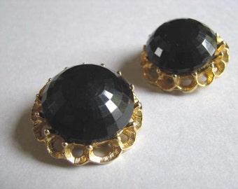 Vintage Earrings - Black Clipons - Vintage Clip on Earrings