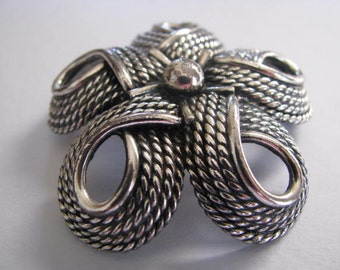 Large Vintage Brooch - Napier Brooch - Silvertone Rope Swirls - Napier pin - Napier collectible jewelry - retro Napier brooch - 1980s pin