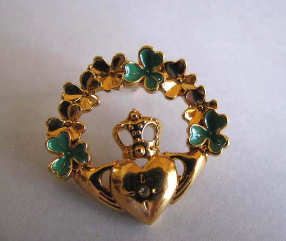 Irish Brooch - Claddagh Pin - Shamrock Pin - Signed Avon