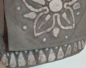 Canvas cross-body batik messenger bag in brown with white and pale blue abstract flower design