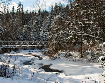 The Snowy River Scene -  Nature photography, landscape photography, winter, snow, fine art print, river, new england